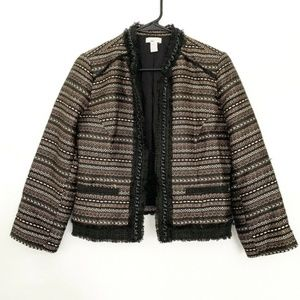 Chico's Black Gold Metallic Royal Tweed Jacket
